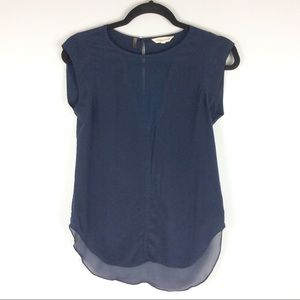 Rebecca Taylor Navy Silk Sleeveless Top Size 0